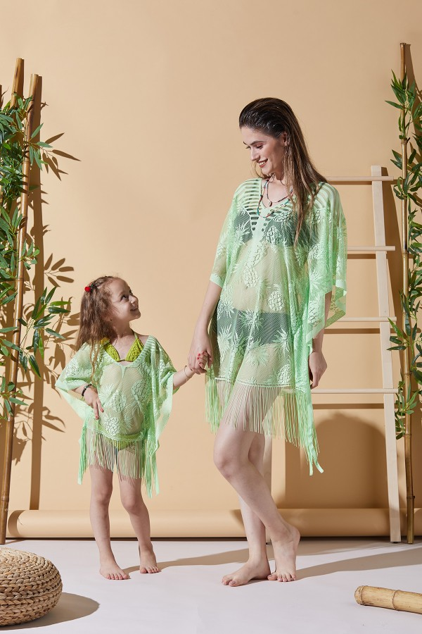 Ananas Yeşil Anne Çocuk Plaj Elbisesi