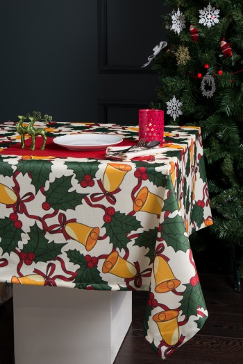 Christmas Themed Digital Print Raschel Tablecloth