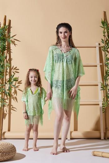 Yaprak Desen Yeşil Anne Çocuk Plaj Elbisesi