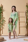 Leaf Pattern Green Mother Child Beach Dress