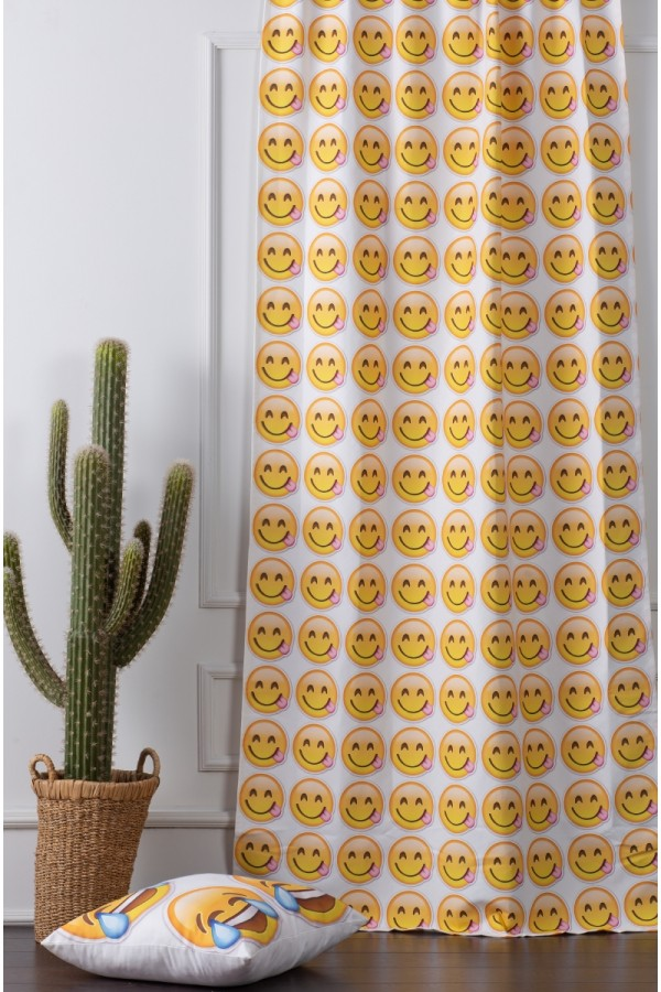 Smiley Emoji Printed Child Curtain