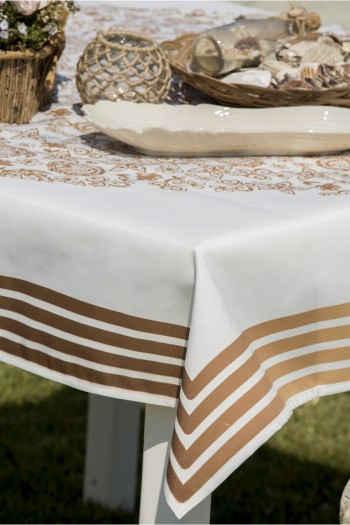 Copper Pattern Floral Tablecloth