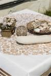 Bakır Desenli Çiçekli Masa Örtüsü