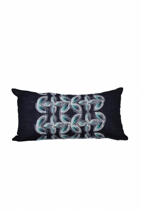 Blue Long Pillow with Floral Pattern