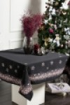 Snowflake Black Christmas Tablecloth