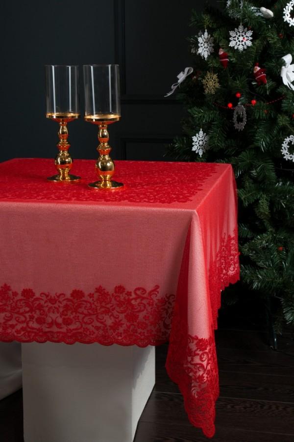 Kırmızı Dantel Masa Örtüsü