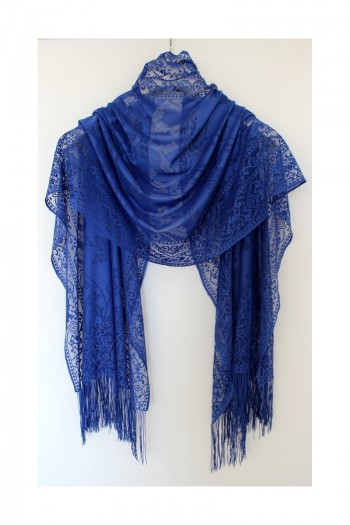 Blue Leaf Patterned Shawl