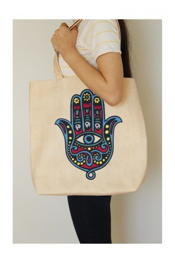 Hand of Fatima Patterned Beach Bag