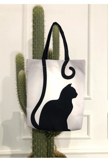 Black Cat Patterned Beach Bag