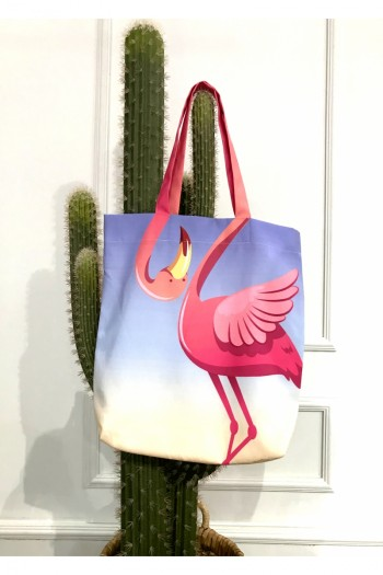 Flamingo Patterned Beach Bag