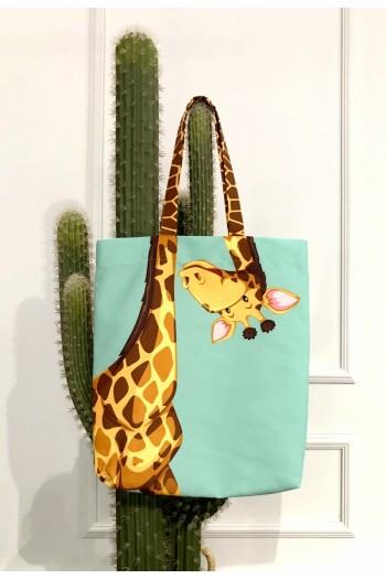 Giraffe Patterned Beach Bag