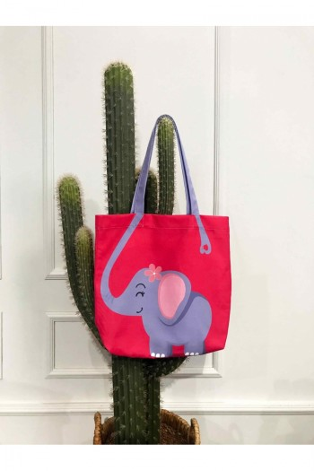 Baby Elephant Patterned Beach Bag