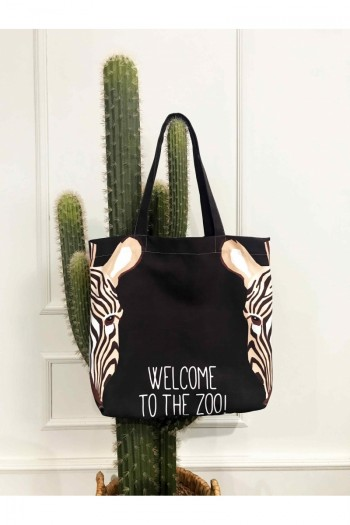 Zebra Patterned Beach Bag