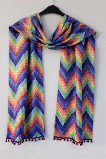 Colorful Zigzag Pattern Shawl