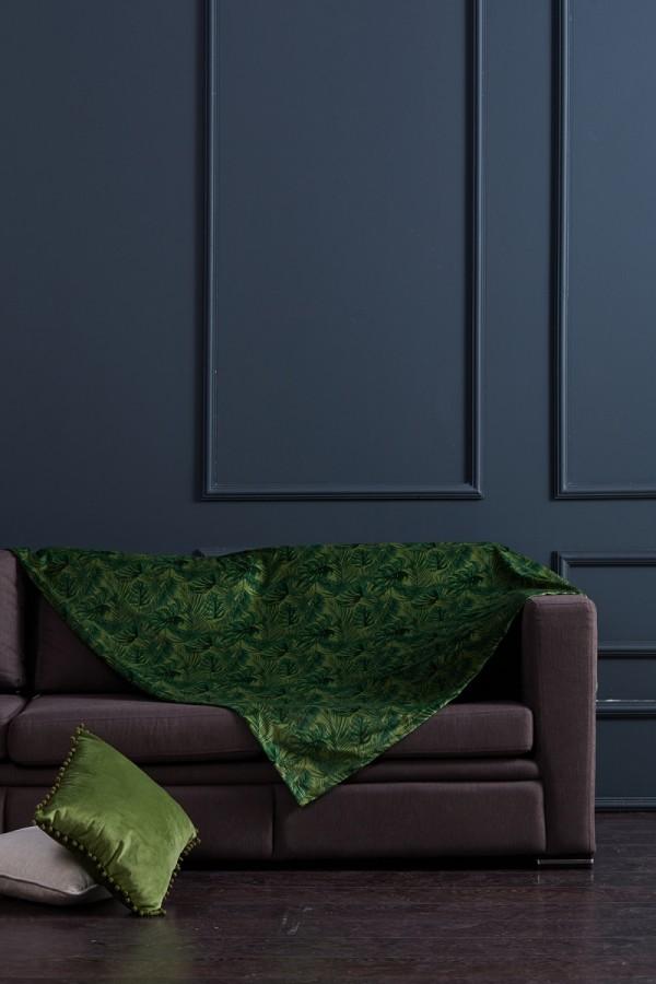Yeşil Yaprak  Desenli Koltuk Şalı