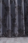 Black Damask Pattern Tulle Curtain