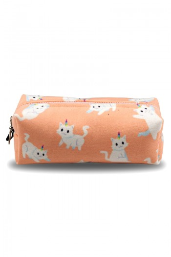 White Cat Patterned Light Pink Make-Up Bag