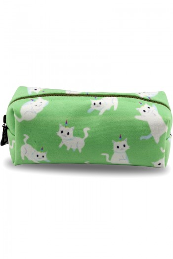 White Cat Patterned Green Make-Up Bag