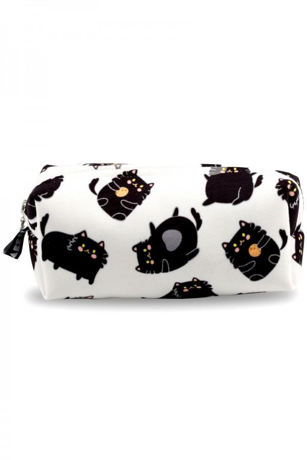Siyah Kedi Desenli Beyaz Makyaj Çantası