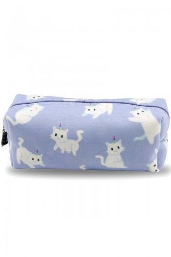 Beyaz Kedi Desenli Açık Mavi Makyaj Çantası