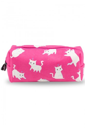White Cat Patterned Pink Make-Up Bag
