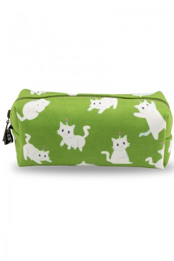 White Cat Patterned Light Green Make-Up Bag