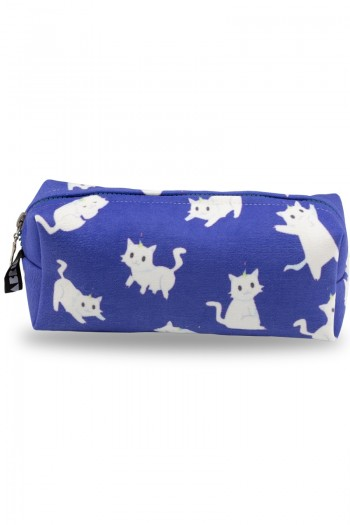 White Cat Patterned Dark Blue Make-Up Bag