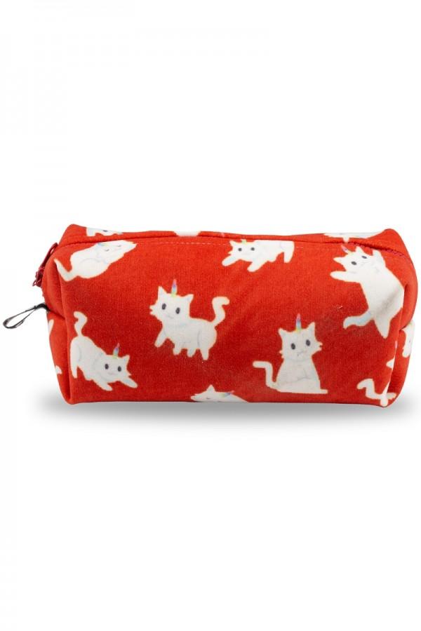 Beyaz Kedi Desenli Kırmızı Makyaj Çantası