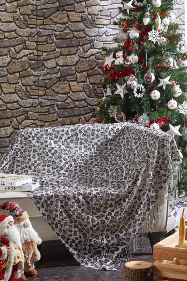 Black White  Leopard Patterned Armchair Shawl