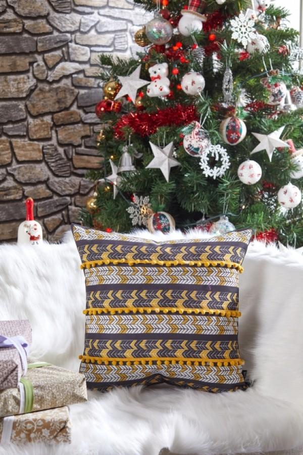 Yellow Pompom Christmas Themed Decorative Pillow