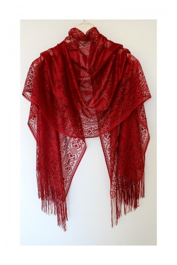 Claret Red Leaf Patternef Shawl