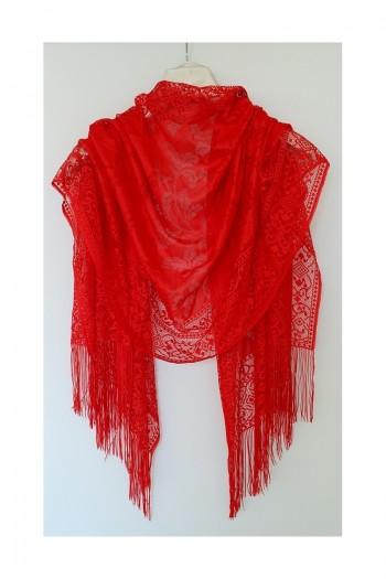 Red Leaf Patternef Shawl