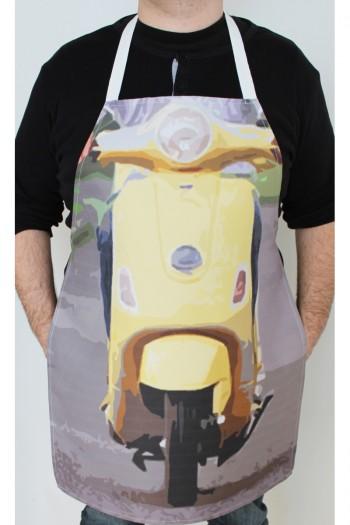 Sarı Motosikletli Mutfak Önlüğü