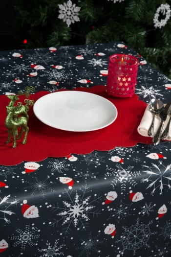 Digital Print Raschel Tablecloth with Santa Claus