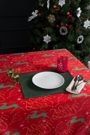 Merry Christmas Dijital Baskı Raşel Masa Örtüsü