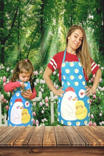 Chicken Digital Printed Mother & Kids Kitchen Apron Set
