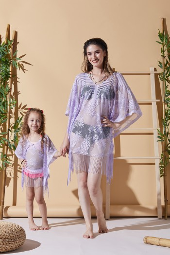 Pineapple Lilac Mother Child Beach Dress