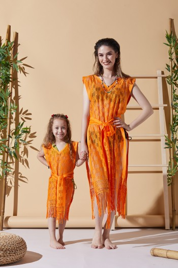 Happy Orange Mother Child Beach Dress