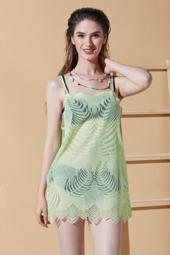 Yaprak Desen Yeşil Plaj Elbisesi