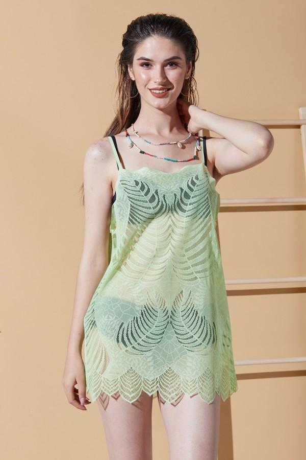 Leaf Pattern Green Beach Dress