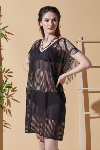 Fiora Siyah Plaj Elbisesi