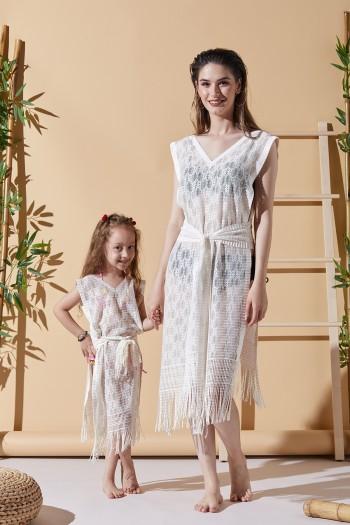 Happy Ekru Anne Çocuk Plaj Elbisesi