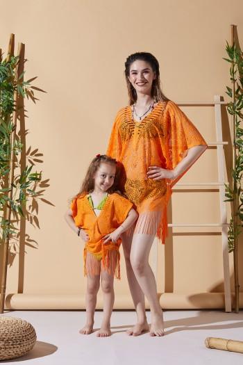 Yaprak Desen Turuncu Anne Çocuk Plaj Elbisesi