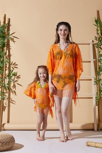 Ananas Turuncu Anne Çocuk Plaj Elbisesi