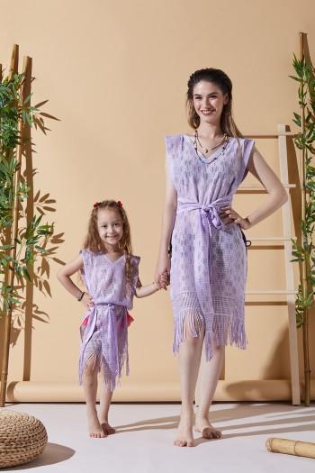 Happy Lila Anne Çocuk Plaj Elbisesi