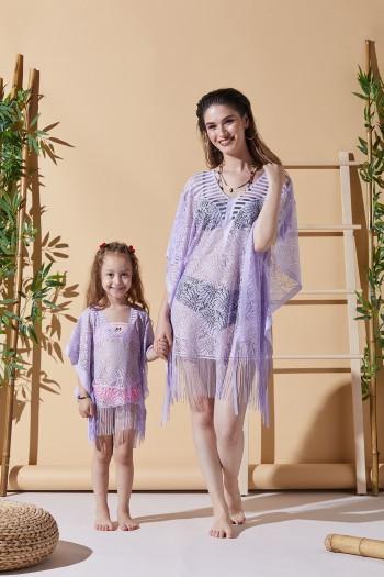 Yaprak Lila Turuncu Anne Çocuk Plaj Elbisesi