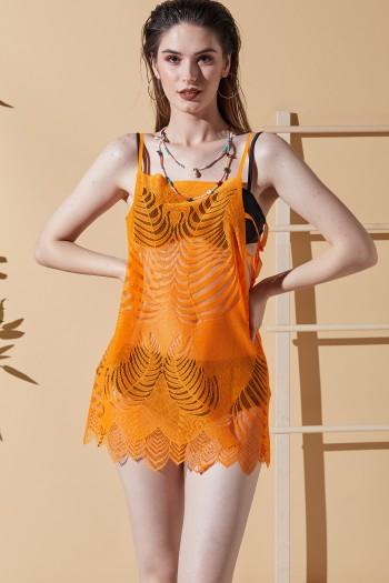 Yaprak Desen Turuncu Plaj Elbisesi