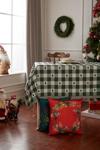 Christmas Green Checkered Pine Table Cloth
