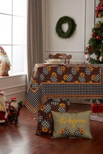 Christmas Pumpkin Pattern Checkered Table Cloth