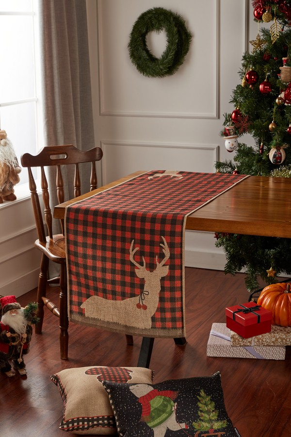 Christmas Deer Pattern Linen Runner
